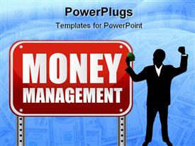 Money management red street sign over a white background presentation background