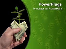 PowerPoint template displaying new plant sprouting from a hand with money - concept for business innovation growth and money in the background.
