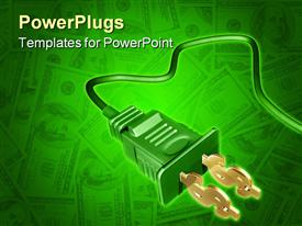 PowerPoint template displaying dollar sign electrical plug