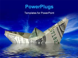 PowerPoint template displaying crisis concept. money ship wreck in water in the background.