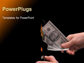 PowerPoint template displaying hand holding a lighter to a hand full of US bills in the background.