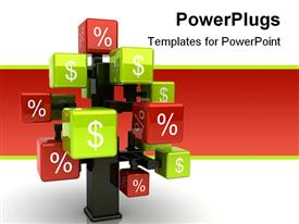 PowerPoint template displaying state of art conceptual 3D tree with green cubes and dollar sign and red cubes with percentage symbol