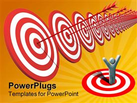 PowerPoint template displaying success metaphor with man celebrating while arrows hit bulls eye on targets