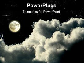 PowerPoint template displaying magic full moon night whit clouds and shining stars
