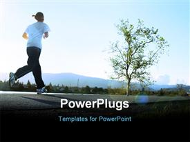 Young woman jogging along a river in the morning powerpoint design layout