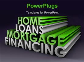 PowerPoint template displaying 3D rendering of financial and mortgage terms on Grey background