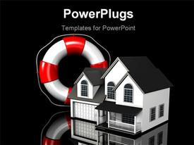 PowerPoint template displaying large red and white lifesaver standing upright next to a simple two-story house in the background.