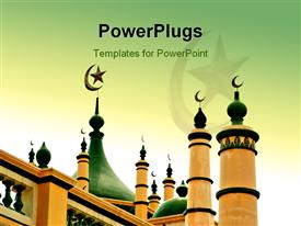 PowerPoint template displaying a majestic green and cream colored built mosque with designs