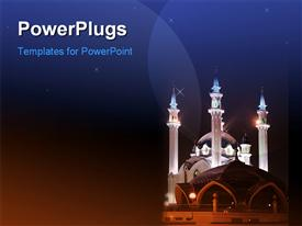 PowerPoint template displaying beautiful shiny mosque