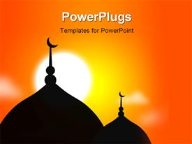 PowerPoint template displaying religious Mosque silhouette during sunset Muslim community in the background.