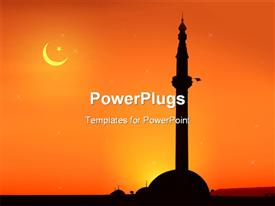 PowerPoint template displaying view of a mosque at sunrise in Skopje Macedonia in the background.
