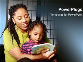 African American mother reads to her son powerpoint template