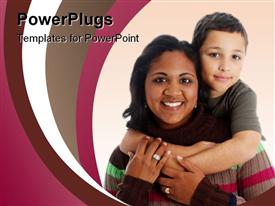 PowerPoint template displaying an asian mother with her child