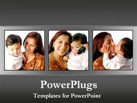 PowerPoint template displaying a kid with his mother and greyish background