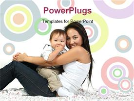 PowerPoint template displaying young happy mother with baby