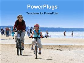 PowerPoint template displaying mother and daughter riding with bicycles along the beach