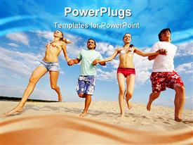PowerPoint template displaying four happy friends holding hands as they run on beach sand