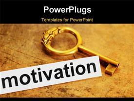 PowerPoint template displaying antique key over brown textured paper with motivation keyword in foreground