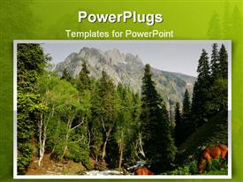PowerPoint template displaying two horses grazing beside a river flowing through trees on a mountain with high mountain in the background