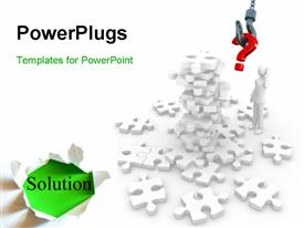 PowerPoint template displaying computer generated jigsaw puzzle with a man worried