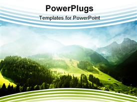 PowerPoint template displaying mountains with green forest landscape and blue shy