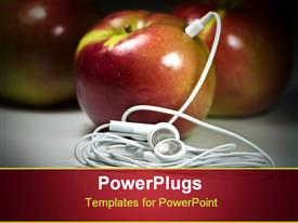 PowerPoint template displaying several apples with one apple plugged into ear buds