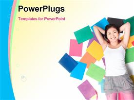 PowerPoint template displaying beautiful Asian lady laying on colored books on cool background