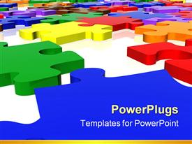 PowerPoint template displaying multicolored three dimensional puzzle pieces on white surface