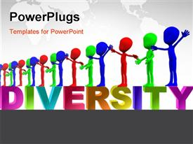 PowerPoint template displaying row of colorful figures representing multiculturalism and diversity