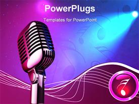 PowerPoint template displaying 50s mice over stage light background