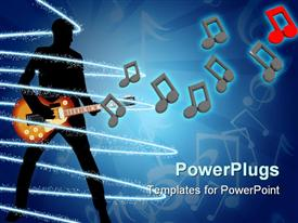 PowerPoint template displaying a person playing the guitar with music signs in the air