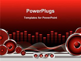 PowerPoint template displaying red and black equalizer with speakers, sound waves and rewind, fast forward, play and stop buttons