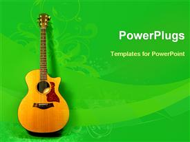 PowerPoint template displaying acoustic guitar in the background.