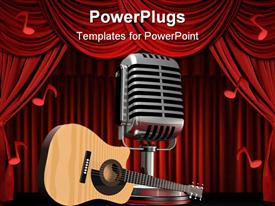 Acoustic guitar sitting in front of a large silver microphone template for powerpoint