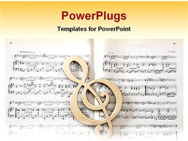 PowerPoint template displaying treble clef in front of sheet music