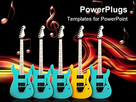 PowerPoint template displaying color contrast. yellow guitar in a middle of blue in the background.