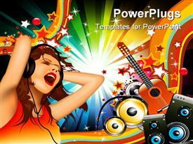 PowerPoint template displaying woman with headphones singing with guitar and speakers in background