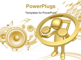 PowerPoint template displaying computer Generated 3D Depiction - Music in the background.