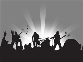 PowerPoint template displaying concert in the background.