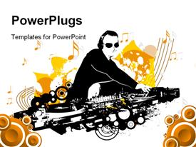 PowerPoint template displaying crest including dj mixing with grungy elements in the background.