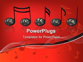 PowerPoint template displaying black musical notes with smiling faces, music, red background