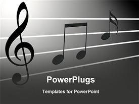 PowerPoint template displaying a depiction of various music notes together with grey background