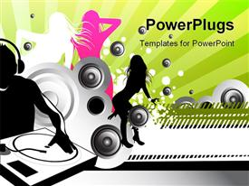 PowerPoint template displaying dJ blasting some tunes with girls dancing