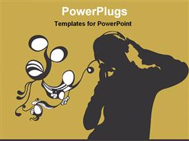 Enjoying music with headset powerpoint theme