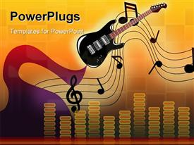 PowerPoint template displaying fairy play guitar shows stave