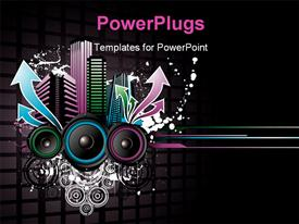 PowerPoint template displaying music depiction with colored equalizer bars and speakers on black background