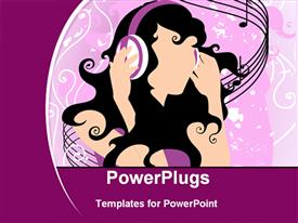 PowerPoint template displaying girl listening music in the background.