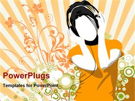PowerPoint template displaying girl listening music with headset in the background.
