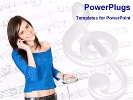 PowerPoint template displaying young girl listening to music with musical notes on music sheets