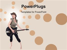 PowerPoint template displaying girl playing guitar in the background.